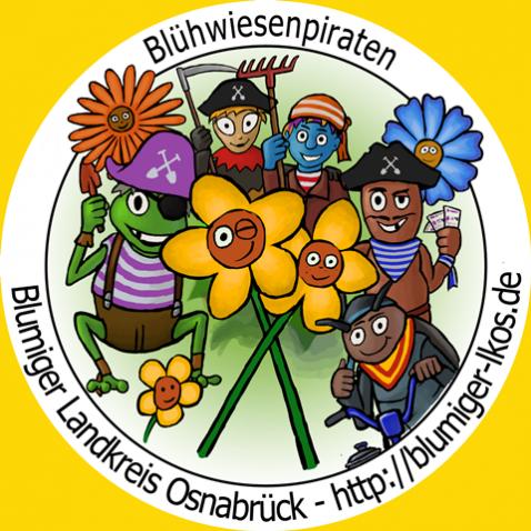 Das Logo der Blühwiesenpiraten, eine Illustration mit Insekten als Piraten verkleidet