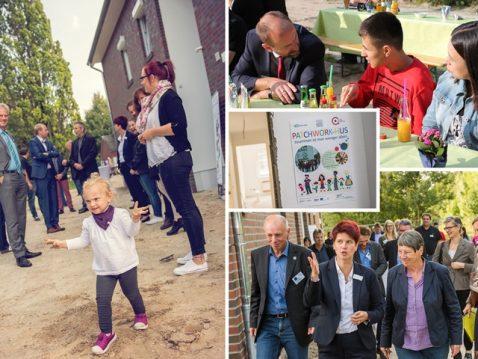 Eine Kollage von Bildern mit Kindern und Erwachsene beim Patchwork-Hus
